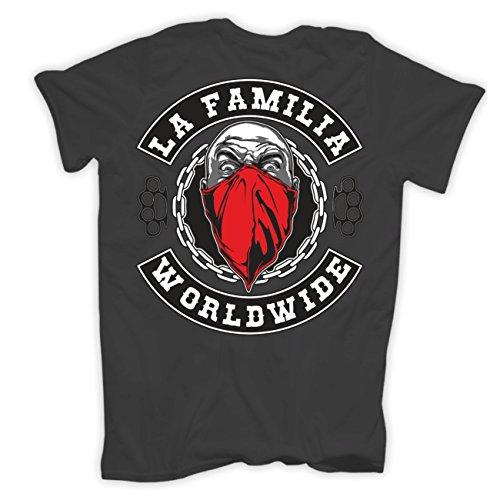 Männer und Herren T-Shirt La Familia WORLDWIDE (mit Rückendruck) Aschgrau