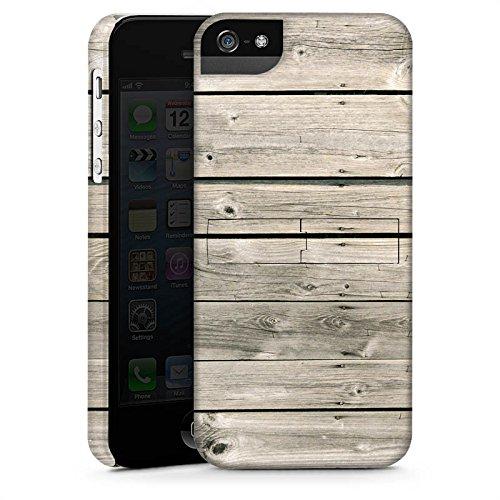Apple iPhone 4 Housse Étui Silicone Coque Protection Lattes de bois grises Look bois Planches CasStandup blanc
