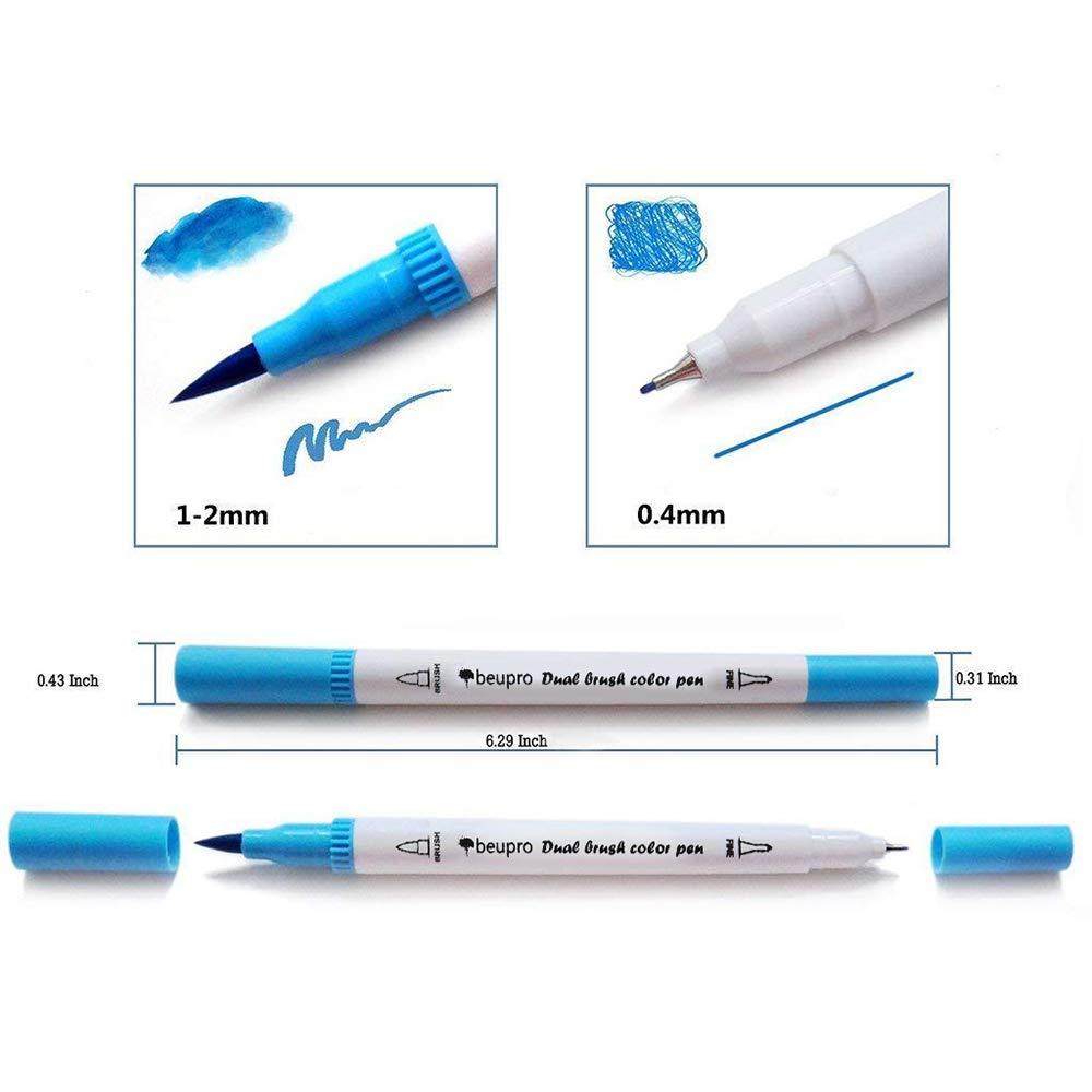 0.4mm Felt Tip Pens Dual Tip Brush Art Pens Bullet Journal 24pcs Colouring Pens