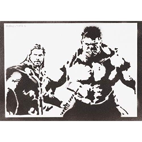 Poster Hulk y Thor Los Vengadores Grafiti Hecho a Mano - Handmade Street Art - Artwork 1