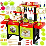 Kinderküche Spielküche Spielzeug Küche KP6031 mit Zubehör Zubehörteile Green Neu Küchenspielzeug SpielKüche mit Kochgeschirr, inkl. Licht und Kochgeräuschen,Mädchen Spielzeug...