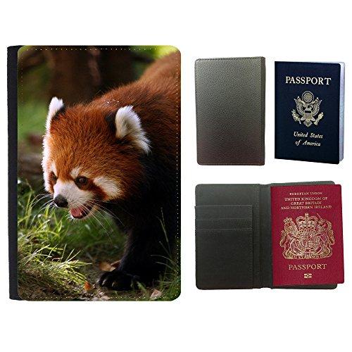 PU Pass Passetui Halter Hülle Schutz // V00003013 leuchtend roten Panda // Universal passport leather - Panda Cover Passport