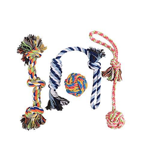 Hund Seil Spielzeug Angker Farbe Seil Spielzeug LANGLEBIG Kauen Baumwolle Seil reinigen die Zähne Spielzeug für kleine, mittel- und 4Stück Geschenk-Set
