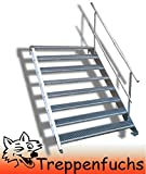 8 Stufen Stahltreppe einseitigem Gelände / Breite 100 cm Geschosshöhe 120-160cm / Robuste Außentreppe / Wangentreppe / Stabile Industrietreppe für den Außenbereich / Inklusive Zubehör
