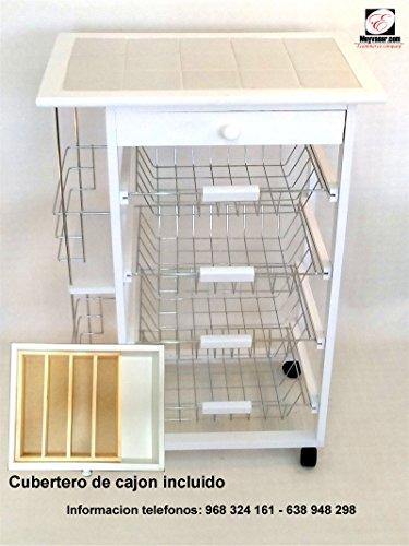 Mueble Gestion Verdulero Frutero Oporto 5 Blanco Cubertero