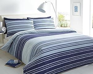 Pieridae Textured Stripe Blue Duvet Cover & Pillowcase Set Bedding Quilt Case Single Double King Superking