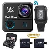 maxesla Action Kamera 4K Wifi Wasserdichte Sport-Kamera 16MP Ultra HD 170° Weitwinkel-len Unterwasser Cam mit 2Akkus/2,4G Fernbedienung/Free Reisetasche/20Zubehör Kits