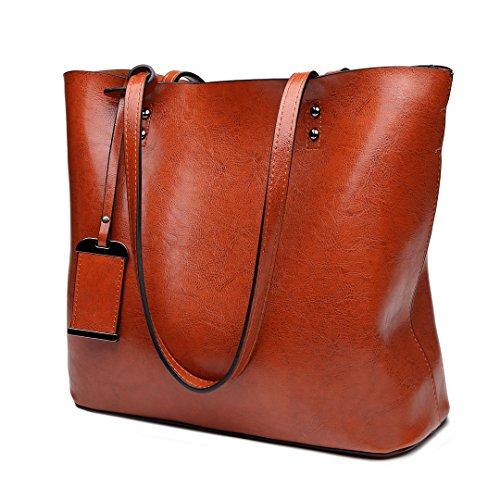 Miss Lulu Damentasche Henkeltasche Handtasche Elegant Schultertasche Shopper PU-Leder (E6710-Braun) (Patent Leder-shopper)