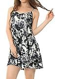 Allegra K Mujer Calavera Rosa Estampado Holgado Vestido Cami - sintético, Negro, 95% poliéster 5% spandex, Mujer, S (UK 8)