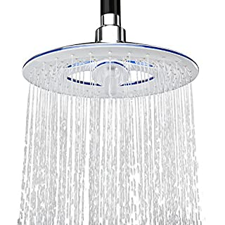 AKDY 8 Inch 2-Setting Dual Mode Round Circular Rainfall Waterfall Overhead Shower Head Modern Contemporary Easy Installation - White by AKDY
