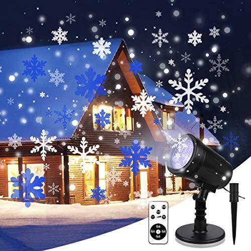 Luces de Proyector de Navidad YUE GANG Impermeable IP65 Copo Giratorio de Nieve Proyector LED para Navidad,Fiesta de Cumpleaños,Boda