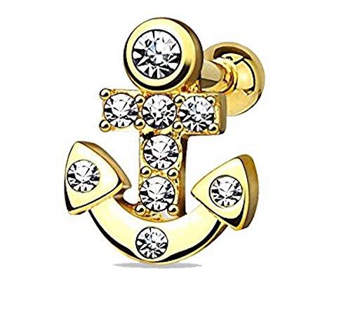 Clear Crystal verkrustet Nautical Sailor Anchor Tragus oder Knorpel PiercingSchließstoff Stahl Überzug