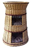 Floranica - Superior Three Tiers Wicker Cat Tower Bed Basket House + cushions, organic willow product, made in the EU, Cushion color:dark cushions, Model:nature tower