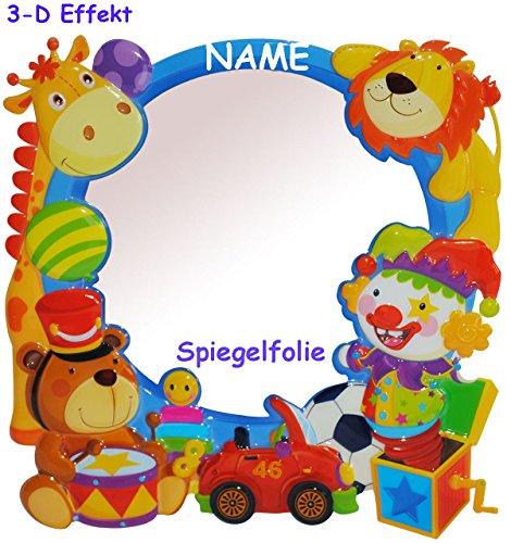 """3-D Effekt _ Kinder Spiegel / Wandspiegel mit Spiegelfolie - """" Spielzeug / Tiere - Auto """" - incl. Name - selbstklebend & wiederverwendbar - als Wandsticker / Wandtattoo - Pop Up - Kinderzimmer - die Wand - Baby / Babyspiegel - Spiegelaufkleber - Mädchen & Jungen - Kinderzimmerspiegel - Figur / Kinderspiegel - Baby-Spiegel / Fliesenspiegel - Kinderspielzeug - Giraffen - Clown / Autos - Fahrzeuge - Wandbild"""