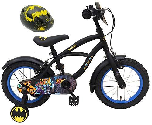 Batman Kinderfahrrad 14 Zoll mit 2 Felgenbremsen + Kinder Fahrradhelm Deluxe Gr. 51-55 cm verstellbar im Sparset
