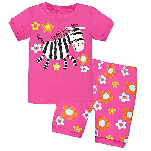 Bmeigo Kind Jungen Pyjama Sets Mädchen Nachtwäsche Kurzarm Pjs 2 Stück Set Kleidung Top Shirt & Hosen Kleinkind Baumwoll Outfits Alter 2-7 Jahre - 2 Stück Kurzarm-pyjama