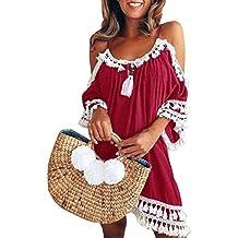 AmazingDays Mujer Verano Playa Fiesta Largos Playeros Vestido Sin Tirantes De Las SeñOras Vestido Sin Tirantes