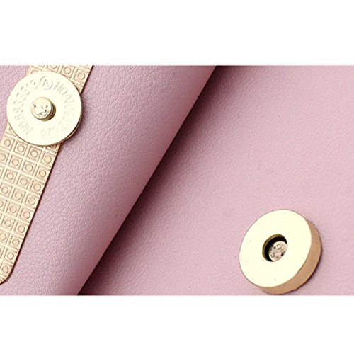 Damenmode Leder-Kreuz-Schulter-Beutel Mit Metallkette,Black Pink