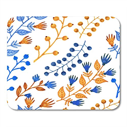 Gaming Mauspads, Gaming Mouse Pad Watercolor Berry Hand Markers Bright Herbal Yellow and Blue Bird...
