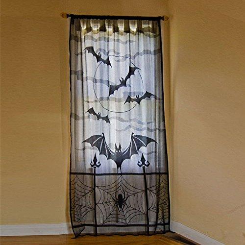 Zantec Schwarze Spitze Spinnennetz Vorhänge Halloween Dekoration Prop Kamin Mantel Schal Abdeckung Party (Gespenstische Halloween Musik)