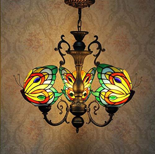 3-Headed Tiffany Style Kronleuchter Leuchten Decke, Schmetterling geformt Glasmalerei Schatten Zink-Legierung Anhänger Beleuchtung für Wohnzimmer Schlafzimmer Retro Hängelampe -