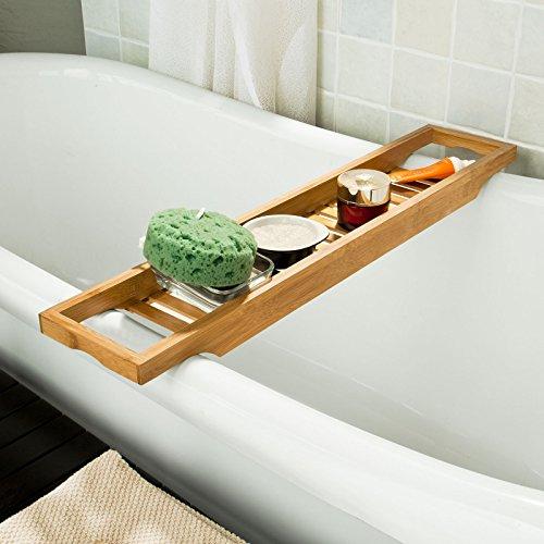 SoBuy® 70cm Lang- Schöne Badewannenablage aus hochwertigem Bambus, Badewannenbrett,Badewannenauflage FRG18