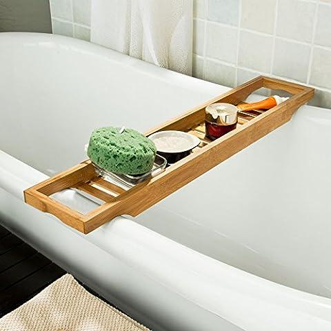 SoBuy Bandeja para bañera de bambú, estante para ducha, estante de baño,FRG18(L70*P14.5*A4.5cm),