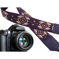 Dark Purple Kameragurt inspiriert von Native Americans. Ethnic Kameragurt. DSLR/SLR Kamera Gurt. Monogramm und Pocket Optionen. 00355