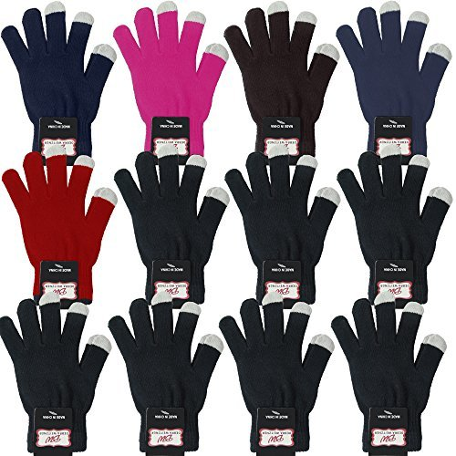 Winter Knit Touchscreen Magic Gloves For Mens Womens 12 Pairs Assorted By Debra Weitzner