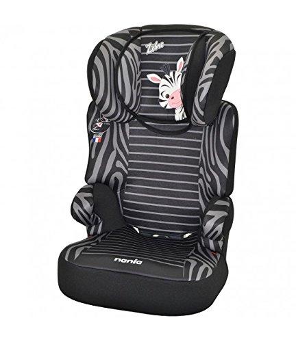 mycarsit Sitzerhöhung mit Rückenlehne, Gruppe 2/3(von 15bis 36kg), Zebra (Zebra Kindersitz)