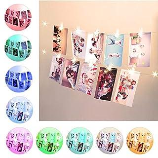 5M Fotoclips RGB 50 LED Farbwechsel Lichterketten, 50 Clips USB & Batteriebetrieben LED Fairy Light mit Fernbedienung & Timer fur Bilderrahmen,Weihnachtskarten,Hochzeit,Haus,Wohnheim Wand Dekoration