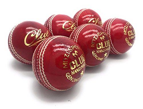 Mozi Sports, Herren, per Hand genäht, Club, Kreis, Cricket-Ball, hochwertig, Senior, offizielle Bälle, Set aus 6 Stück, Geweicht: 156 g