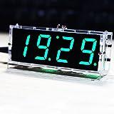 KKmoon Horloge LED Numérique DIY de 4 Chiffres Compacte, Module de Minuteurs en Kit Lumière Contrôle, Affichage Automatique de l'Heure Température Date avec Boîtier Transparent (Sans Batterie)--VERT