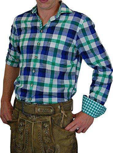 Os Trachten Herren Trachtenhemd Marius in angesagtem Großkaro in verschiedenen Ausführungen, Größe:Halsgröße 47/48 (3XL);Farben:grün