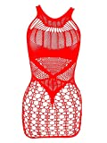 LemonGirl Damen Netz-Bodystockings Kleid Babydoll-Bodysuit Einheitsgröße - Rot - Einheitsgröße