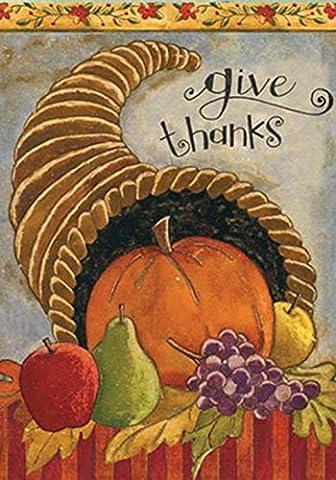 Toland - Delicious Cornucopia - Decorative Give Thanks Harvest Fall Autumn USA-Produced House Flag