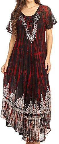 Sakkas 16601 - Ronny Lace Bestickte Cap Sleeve Tie Dye Wash Kaftan Kleid / Vertuschen - Schwarz / Burgundy - OS (Bestickt Dye Tie)