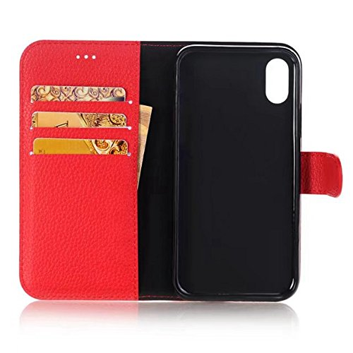 Solid Color Litchi Skin Texture Premium PU Leder Brieftasche Case Cover mit Card Slots und Kickstand für iPhone X ( Color : Red ) Red