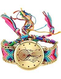 Sannysis Dreamcatcher Amistad Pulsera Relojes vestido de las mujeres del reloj de la trenza (01)
