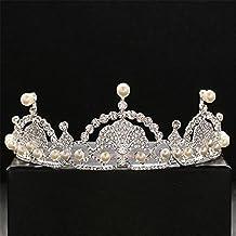 Weddwith Pelo Adornos Peinado accesorios de cristal blanco novia tocado corona boda pedrería perlas accesorios para