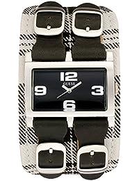 Guess - I80017L1 - Montre Femme Acier - Quartz Analogique - Bracelet de force en Cuir / Tissu Noir et Blanc