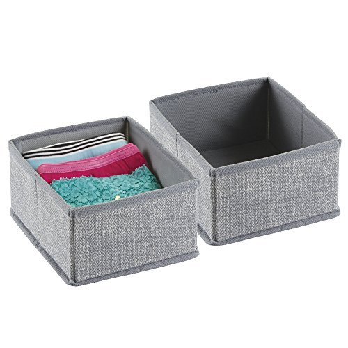 InterDesign Aldo Schubladen Organizer, kleine Aufbewahrungsbox aus Polypropylen, 2er-Set Schubladenbox, grau (Fliegen Unterwäsche)
