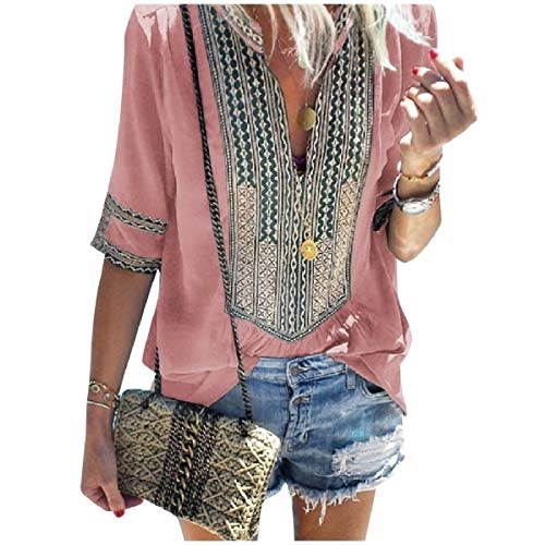 3/4 Sleeve V-neck Cardigan (CuteRose Womens V Neck Striped Ethnic Style 3/4 Sleeve Style Tops Blouses Pink 3XL)