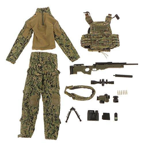 1/6 Juguetes Juegos Muñecas Fashion Ropa Francotirador Nos Guerra Especial de Configurado 12 Pulgadas ZY - Verde Militar