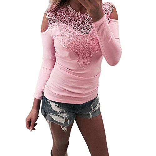 TWIFER Damen Langarm O Hals Spitze Patchwork Sweatshirt Bluse Pullover (M, Rosa) (Seide-leinen-hose)
