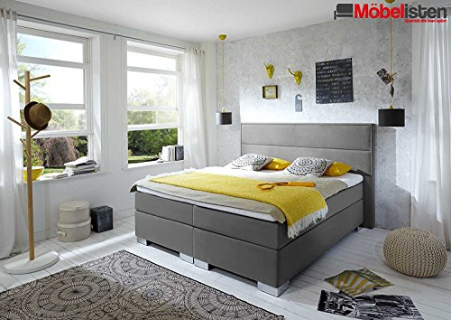 Designer Boxspringbett Lifestyle, Made in Germany, Tonnentaschenfederkern in der Box UND in der 7-Zonen Matratze, Visco Topper, Luxusbett, Hotelbett, Doppelbett, Grau, H2/H3, 180x200cm