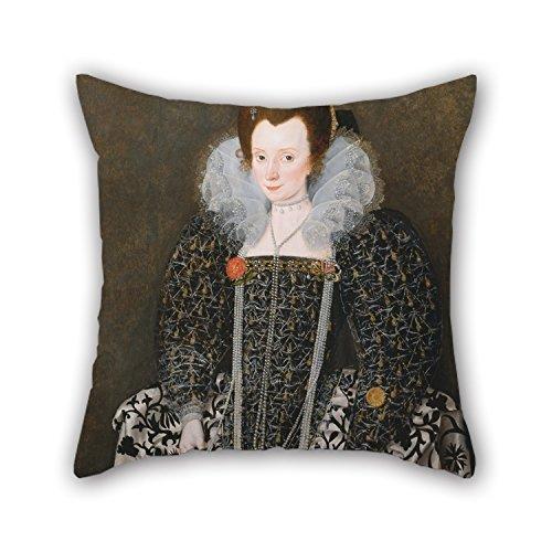 Das Öl Gemälde Robert Peake der Ältere–Portrait Of A Frau, traditionell als Mary Clopton (Born Waldegrave), der Kentwell Hall, S Kissenbezüge von, 50,8x 50,8cm/50B (Hobo 0)