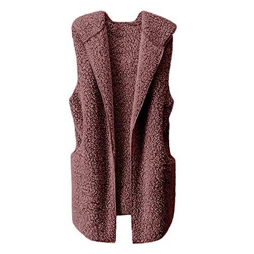 VEMOW Herbst Winter Elegante Damen Westen Weste Winter Warme Hoodie Outwear Casual Mantel Kunstpelz Reißverschluss Sherpa Jacke (Braun, EU-38/CN-M)