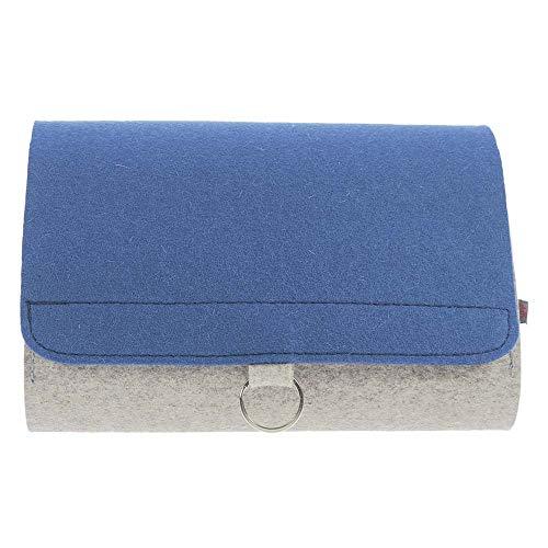 Windel Salbe (ebos Wickeltasche | handgefertigte Windeltasche aus reinem Wollfilz | Platz für Windeln, Feuchttücher, Cremes, Baby-Öl, Pflaster und Globuli | grau/blau)