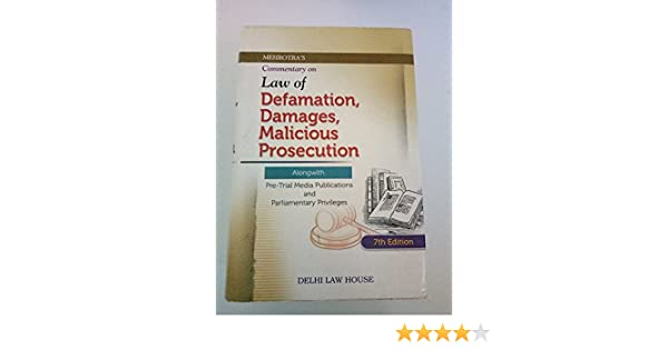 Buy Law of Defamation, Damages, Malicious Prosecution alongwith Pre